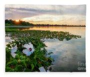 Flowers At Sunset Fleece Blanket