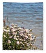 Flowers At The Lake Fleece Blanket