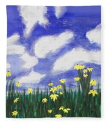 Flowers Bright Field Fleece Blanket