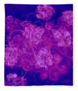 Flowers, Buttons And Ribbons -shades Of  Blue To Fuchsia Fleece Blanket