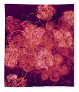 Flowers, Buttons And Ribbons -shades Of Burbundy Rose Fleece Blanket