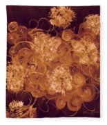 Flowers, Buttons And Ribbons -shades Of Burnt Umber Fleece Blanket