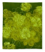 Flowers, Buttons And Ribbons -shades Of Chartreuse Fleece Blanket