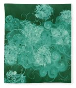 Flowers, Buttons And Ribbons -shades Of Green Fleece Blanket