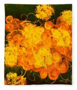 Flowers, Buttons And Ribbons -shades Of Orange/yellow  Fleece Blanket