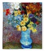 Flowers In A Blue Vase  Fleece Blanket