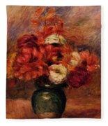Flowers In A Green Vase Dahlilas And Asters Fleece Blanket