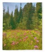 Flowers In A Mountain Glade Fleece Blanket