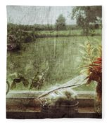 Flowers In A Window Fleece Blanket
