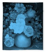 Flowers In Blue Fleece Blanket