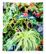 Flowers In Garden 3 Fleece Blanket