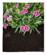 Flowers In Grass Growing From Natural Clean Soil Fleece Blanket
