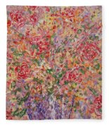 Flowers In Purple Vase. Fleece Blanket