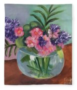 Flowers In Round Glass Vase Fleece Blanket