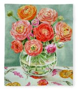 Flowers In The Glass Vase Fleece Blanket