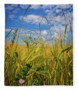 Flowers In The Wheat Fleece Blanket