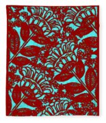 Flowers Indigo Red And Blue Fleece Blanket
