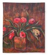 Flowers Of Pink In Vase Fleece Blanket