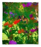 Flowers On Display As Abstract Art Fleece Blanket