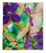 Flowers Purple Fleece Blanket