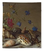 Flowers, Shells And Insects On A Stone Ledge Fleece Blanket