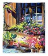 Flowery Window Of France Fleece Blanket