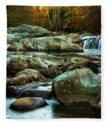 Flowing River On Greenbrier Cove Road Smoky Mountains National P Fleece Blanket