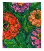 Flowing Zinnias Fleece Blanket