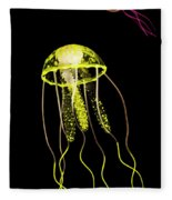 Flows Of Yellow Marine Life Fleece Blanket