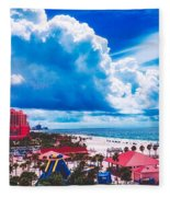 Fluffy Clouds Over Clearwater Beach Fleece Blanket