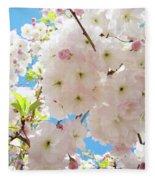 Fluffy White Pink Sunlit Tree Blossom Art Print Canvas Baslee Troutman Fleece Blanket