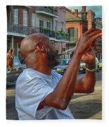 Flute Musician In New Orleans Fleece Blanket