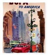 Fly Bcpa To America Vintage Poster Restored Fleece Blanket