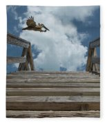 Fly By At The Beach - Brown Pelican And Rustic Stairs Fleece Blanket