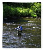 Fly Fishing In New York Fleece Blanket