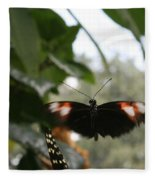 Fly Free - Black, Orange, White Butterfly Fleece Blanket
