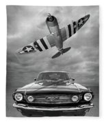 Fly Past - 1966 Mustang With P47 Thunderbolt In Black And White Fleece Blanket
