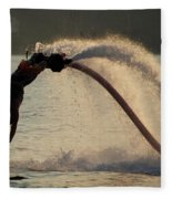 Flyboarder About To Enter Water With Hands Fleece Blanket