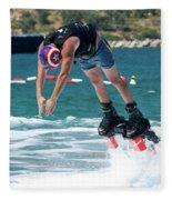 Flyboarder Bending Over To Dive Into Water Fleece Blanket