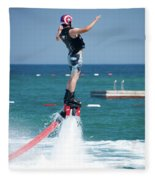 Flyboarder Falling Backwards Next To Swimming Platform Fleece Blanket
