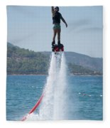 Flyboarder Giving Victory Sign With One Hand Fleece Blanket