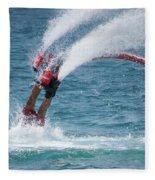 Flyboarder In Red Entering Water With Spray Fleece Blanket