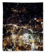Flying At Night Over Cities Below Fleece Blanket