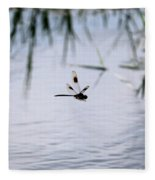 Flying Dragonfly Over Pond With Reeds Fleece Blanket