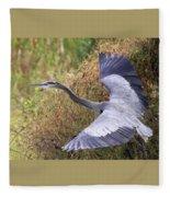 Flying Great Blue Heron Fleece Blanket