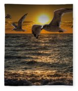 Flying Gulls At Sunset Fleece Blanket