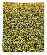 Flying Over Sunflower Fields Fleece Blanket