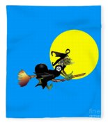 Flying Pentacle Witch Fleece Blanket