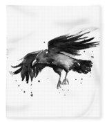 Flying Raven Watercolor Fleece Blanket