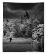 Flying Ravens And Totem Poles In Black And White Fleece Blanket